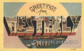 LLT201263 - Westerly, RI USA Large Letter Town Vintage Postcard Old Post Card Antique Postales, Cartes, Kartpostal
