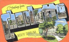 LLT201265 - Charlotte, North Carolina USA Large Letter Town Vintage Postcard Old Post Card Antique Postales, Cartes, Kartpostal
