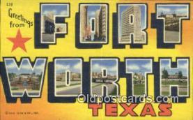 LLT201276 - Fort Worth, Texas USA Large Letter Town Vintage Postcard Old Post Card Antique Postales, Cartes, Kartpostal
