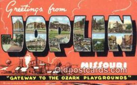 LLT201299 - Joplin, Missouri USA Large Letter Town Vintage Postcard Old Post Card Antique Postales, Cartes, Kartpostal