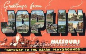 LLT201300 - Joplin, Missouri USA Large Letter Town Vintage Postcard Old Post Card Antique Postales, Cartes, Kartpostal