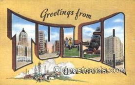 LLT201307 - Tulsa, Oklahoma USA Large Letter Town Vintage Postcard Old Post Card Antique Postales, Cartes, Kartpostal