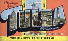 LLT201309 - Tulsa, Oklahoma USA Large Letter Town Vintage Postcard Old Post Card Antique Postales, Cartes, Kartpostal