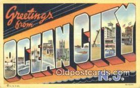 LLT201319 - Ocean City, NJ USA Large Letter Town Vintage Postcard Old Post Card Antique Postales, Cartes, Kartpostal