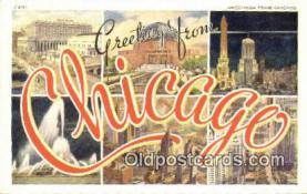 LLT201324 - Chicago USA Large Letter Town Vintage Postcard Old Post Card Antique Postales, Cartes, Kartpostal