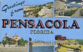 LLT201329 - Pensacola, Florida USA Large Letter Town Vintage Postcard Old Post Card Antique Postales, Cartes, Kartpostal