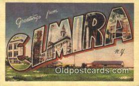 LLT201344 - Elmira, NY USA Large Letter Town Vintage Postcard Old Post Card Antique Postales, Cartes, Kartpostal