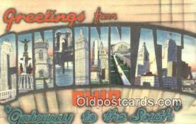LLT201353 - Cincinnati, Ohio USA Large Letter Town Vintage Postcard Old Post Card Antique Postales, Cartes, Kartpostal