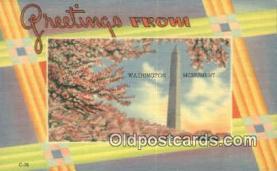 LLT201365 - Washington Monument USA Large Letter Town Vintage Postcard Old Post Card Antique Postales, Cartes, Kartpostal