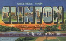 LLT201369 - Clinton, Iowa USA Large Letter Town Vintage Postcard Old Post Card Antique Postales, Cartes, Kartpostal