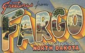 LLT201370 - Fargo, North Dakota USA Large Letter Town Vintage Postcard Old Post Card Antique Postales, Cartes, Kartpostal