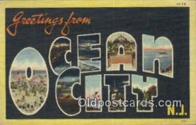 LLT201371 - Ocean City, NJ USA Large Letter Town Vintage Postcard Old Post Card Antique Postales, Cartes, Kartpostal