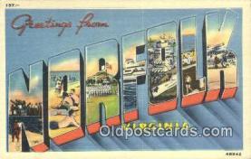 LLT201378 - Norfolk, Virginia USA Large Letter Town Vintage Postcard Old Post Card Antique Postales, Cartes, Kartpostal