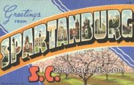 LLT201382 - Spartanburg, SC USA Large Letter Town Vintage Postcard Old Post Card Antique Postales, Cartes, Kartpostal