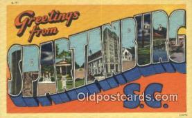 LLT201383 - Spartanburg, SC USA Large Letter Town Vintage Postcard Old Post Card Antique Postales, Cartes, Kartpostal