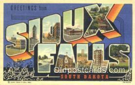 LLT201386 - Sioux Falls, South Dakota USA Large Letter Town Vintage Postcard Old Post Card Antique Postales, Cartes, Kartpostal