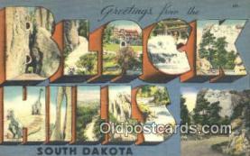 LLT201390 - Black Hills, South Dakota USA Large Letter Town Vintage Postcard Old Post Card Antique Postales, Cartes, Kartpostal