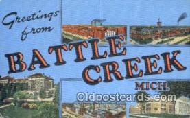 LLT201418 - Battle Creek, Mich USA Large Letter Town Vintage Postcard Old Post Card Antique Postales, Cartes, Kartpostal