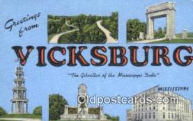 LLT201419 - Vicksburg, Mississippi USA Large Letter Town Vintage Postcard Old Post Card Antique Postales, Cartes, Kartpostal