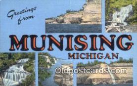 LLT201420 - Munising, Michigan USA Large Letter Town Vintage Postcard Old Post Card Antique Postales, Cartes, Kartpostal