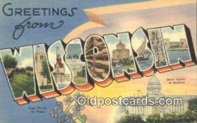 LLT201424 - Wisconsin USA Large Letter Town Vintage Postcard Old Post Card Antique Postales, Cartes, Kartpostal