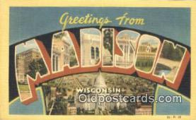LLT201425 - Madison, Wisconsin USA Large Letter Town Vintage Postcard Old Post Card Antique Postales, Cartes, Kartpostal