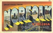 LLT201444 - Norfolk, Virginia USA Large Letter Town Vintage Postcard Old Post Card Antique Postales, Cartes, Kartpostal