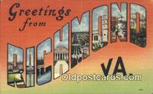 LLT201454 - Richmond, VA USA Large Letter Town Vintage Postcard Old Post Card Antique Postales, Cartes, Kartpostal