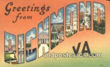 LLT201455 - Richmond, VA USA Large Letter Town Vintage Postcard Old Post Card Antique Postales, Cartes, Kartpostal
