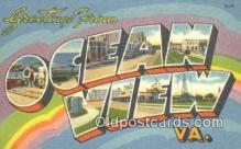 LLT201458 - Ocean View, VA USA Large Letter Town Vintage Postcard Old Post Card Antique Postales, Cartes, Kartpostal