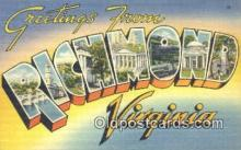 LLT201465 - Richmond, Virginia USA Large Letter Town Vintage Postcard Old Post Card Antique Postales, Cartes, Kartpostal