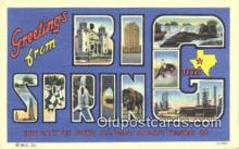 LLT201533 - Big Spring, Texas USA Large Letter Town Vintage Postcard Old Post Card Antique Postales, Cartes, Kartpostal