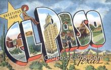 LLT201535 - El Paso, Texas USA Large Letter Town Vintage Postcard Old Post Card Antique Postales, Cartes, Kartpostal