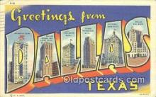 LLT201537 - Dallas, Texas USA Large Letter Town Vintage Postcard Old Post Card Antique Postales, Cartes, Kartpostal