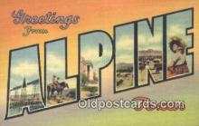 LLT201541 - Alpine, Texas USA Large Letter Town Vintage Postcard Old Post Card Antique Postales, Cartes, Kartpostal