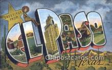 LLT201546 - El Paso, Texas USA Large Letter Town Vintage Postcard Old Post Card Antique Postales, Cartes, Kartpostal
