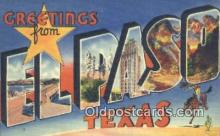LLT201547 - El Paso, Texas USA Large Letter Town Vintage Postcard Old Post Card Antique Postales, Cartes, Kartpostal