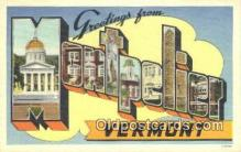 LLT201559 - Montpelier, Vermont USA Large Letter Town Vintage Postcard Old Post Card Antique Postales, Cartes, Kartpostal