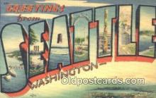 LLT201580 - Seattle, Washington USA Large Letter Town Vintage Postcard Old Post Card Antique Postales, Cartes, Kartpostal