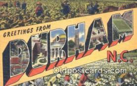 LLT201610 - Durham, NC USA Large Letter Town Vintage Postcard Old Post Card Antique Postales, Cartes, Kartpostal