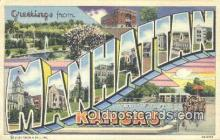 LLT201613 - Manhattan, Kansas USA Large Letter Town Vintage Postcard Old Post Card Antique Postales, Cartes, Kartpostal