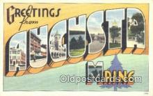 LLT201618 - Augusta, Maine USA Large Letter Town Vintage Postcard Old Post Card Antique Postales, Cartes, Kartpostal