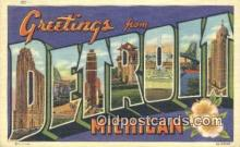 LLT201658 - Detroit, Michigan USA Large Letter Town Vintage Postcard Old Post Card Antique Postales, Cartes, Kartpostal