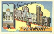 LLT201666 - Montpelier, Vermont USA Large Letter Town Vintage Postcard Old Post Card Antique Postales, Cartes, Kartpostal