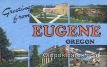 LLT201677 - Eugene, Oregon USA Large Letter Town Vintage Postcard Old Post Card Antique Postales, Cartes, Kartpostal