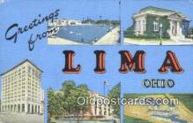 LLT201684 - Lima, Ohio USA Large Letter Town Vintage Postcard Old Post Card Antique Postales, Cartes, Kartpostal