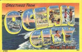 LLT201689 - Ocean City, New Jersey USA Large Letter Town Vintage Postcard Old Post Card Antique Postales, Cartes, Kartpostal