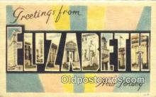 LLT201691 - Elizabeth, New Jersey USA Large Letter Town Vintage Postcard Old Post Card Antique Postales, Cartes, Kartpostal