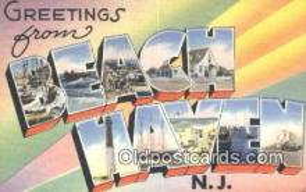LLT201692 - Beach Haven, NJ USA Large Letter Town Vintage Postcard Old Post Card Antique Postales, Cartes, Kartpostal