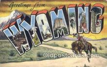 LLT201724 - Wyoming USA Large Letter Town Vintage Postcard Old Post Card Antique Postales, Cartes, Kartpostal